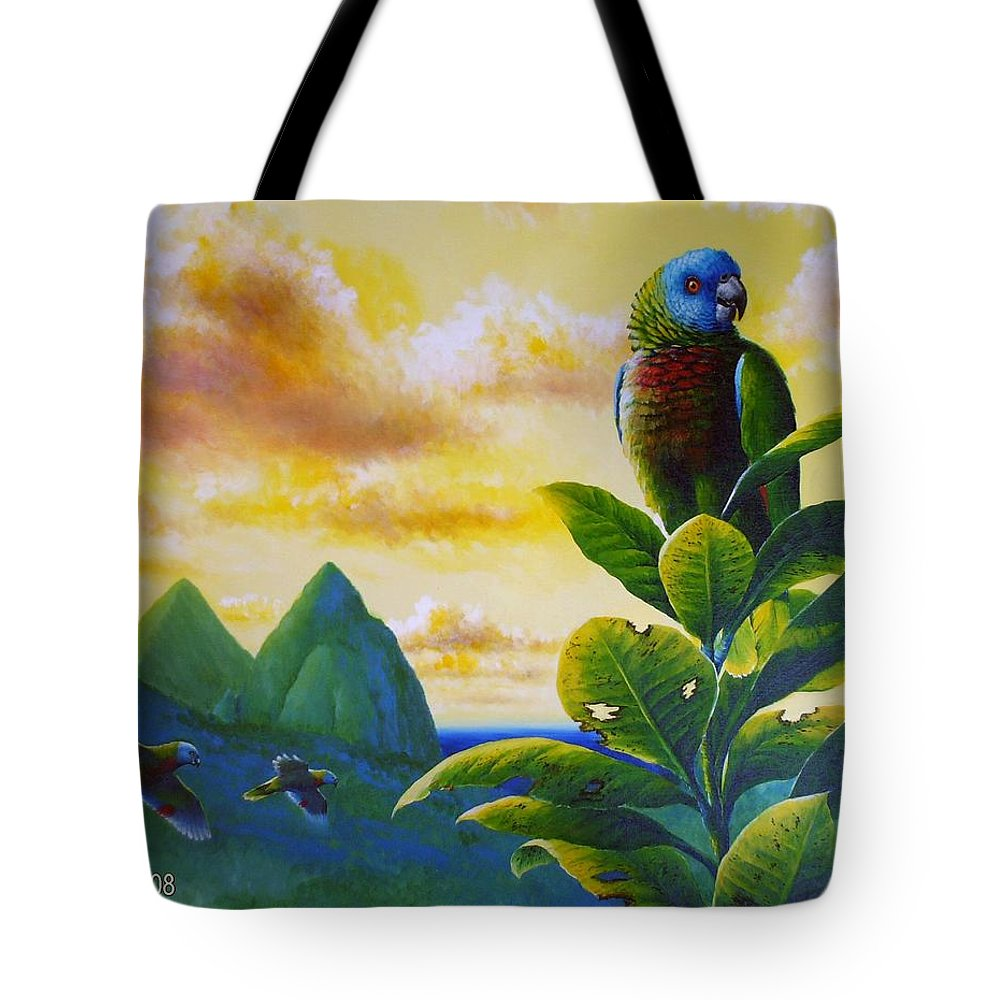 Chris Cox Tote Bag featuring the painting Morning Glory - St. Lucia Parrots by Christopher Cox