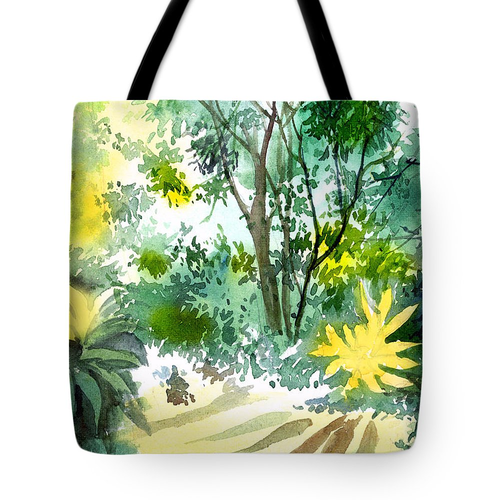 Landscape Tote Bag featuring the painting Morning Glory by Anil Nene