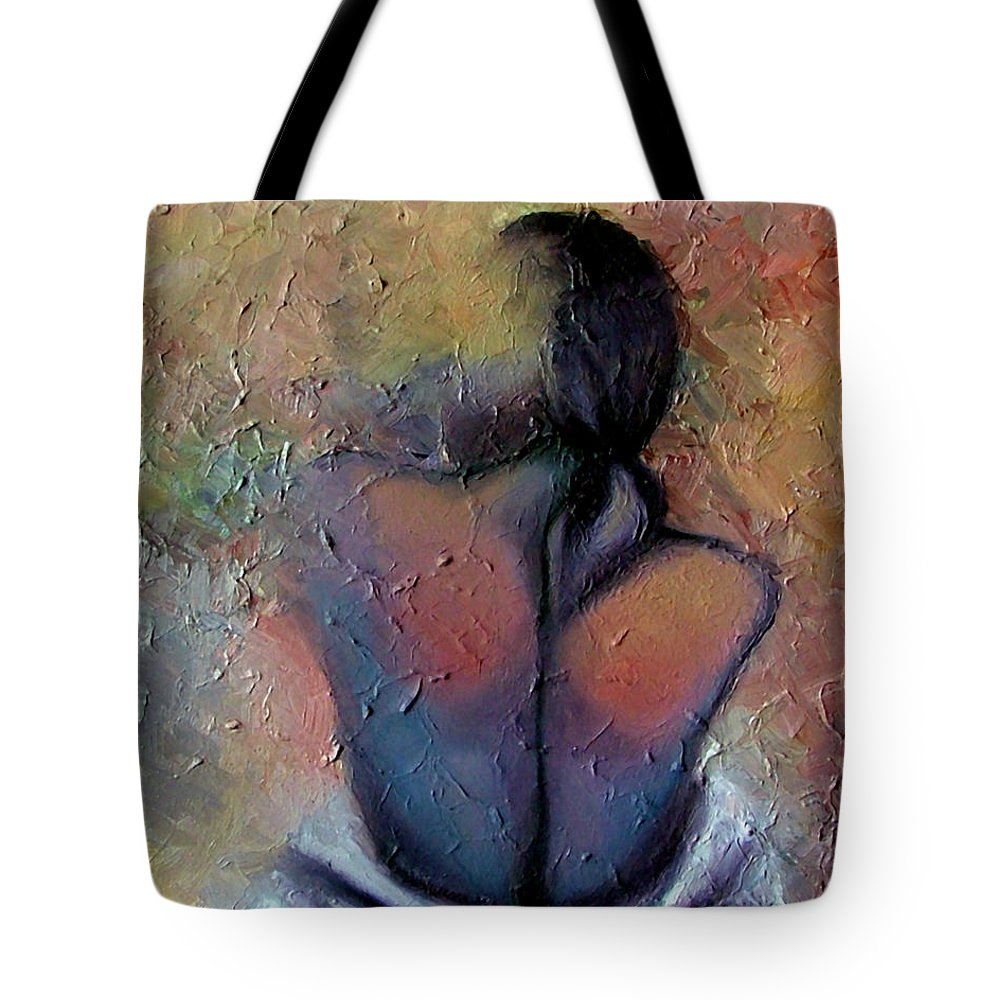 Abstract Tote Bag featuring the painting Morning Glow by Elizabeth Lisy Figueroa