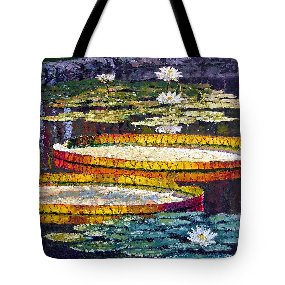 Water Lilies Tote Bag featuring the painting Morning Glow by John Lautermilch