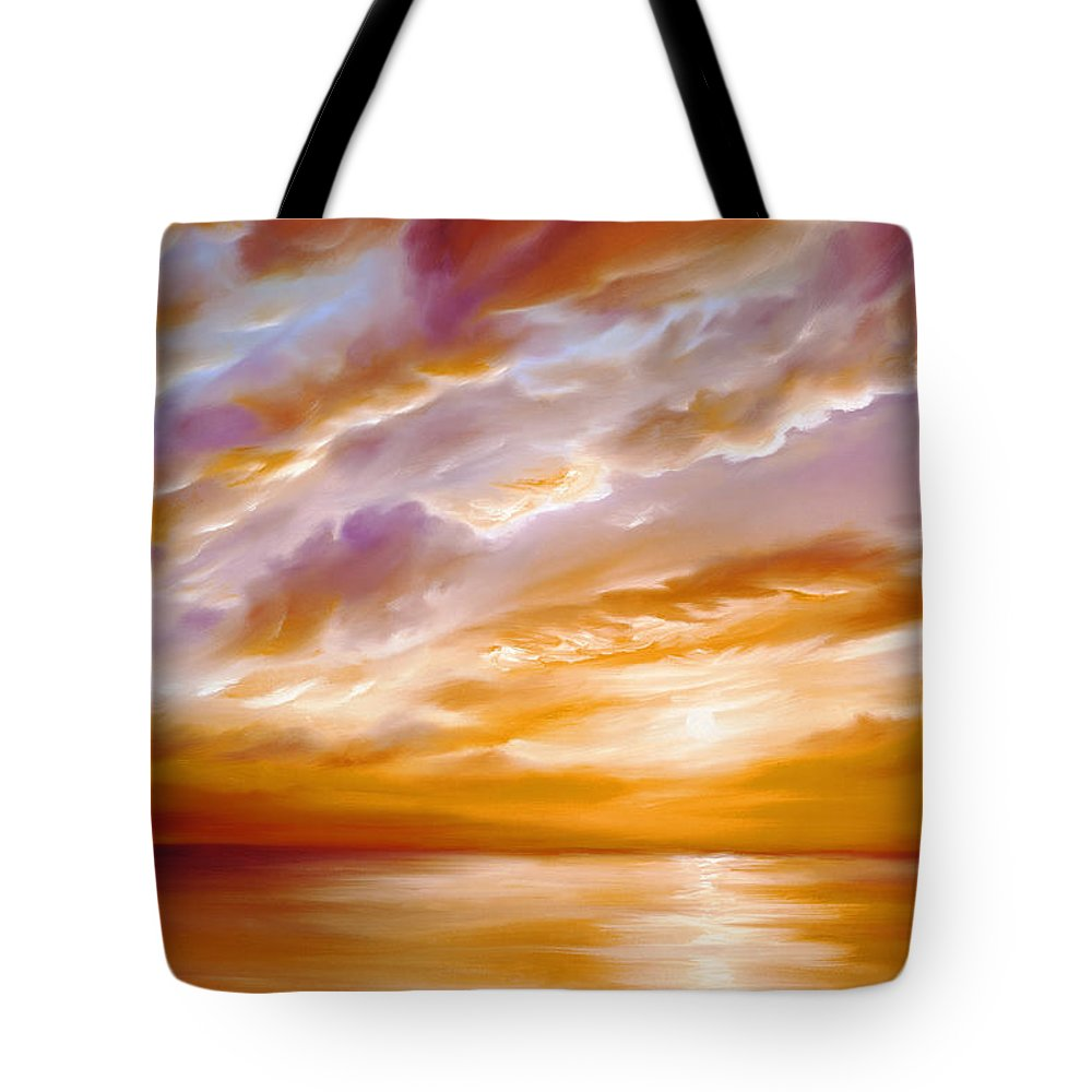 Sunrise; Sunset; Power; Glory; Cloudscape; Skyscape; Purple; Red; Blue; Stunning; Landscape; James C. Hill; James Christopher Hill; Jameshillgallery.com; Ocean; Lakes; Creation; Genesis Tote Bag featuring the painting Morning Grace by James Christopher Hill