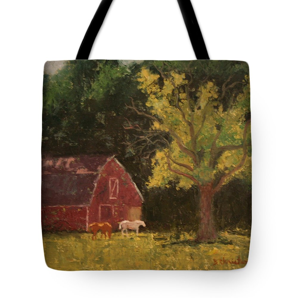 Horse Tote Bag featuring the painting Morning Grazing by Becky Christenson