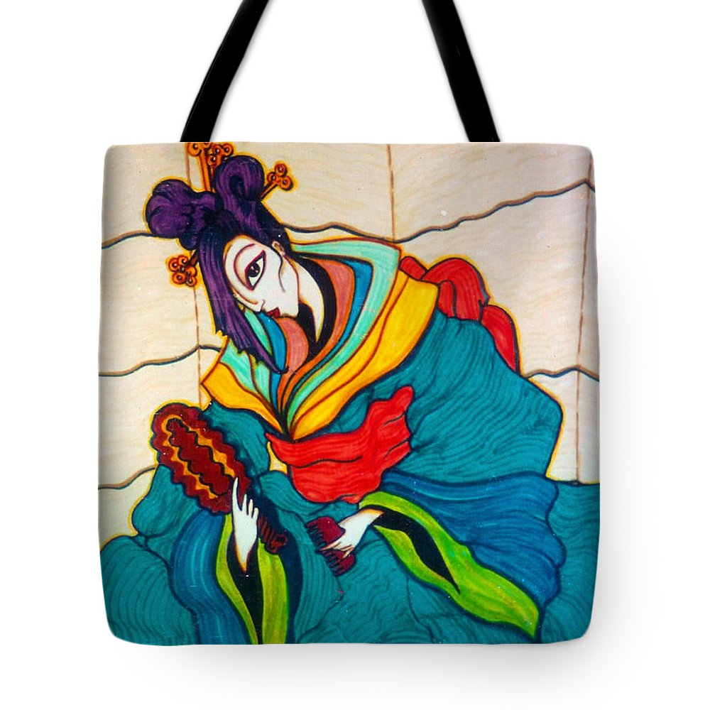 Woman Tote Bag featuring the drawing Morning Grooming by Rae Chichilnitsky