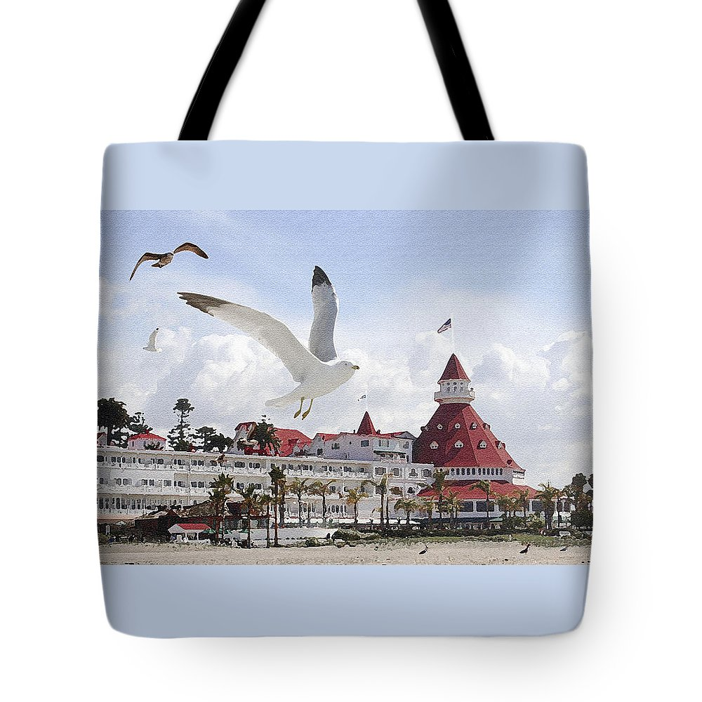 Beach Tote Bag featuring the photograph Morning Gulls On Coronado by Margie Wildblood