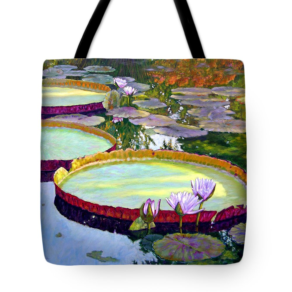 Garden Pond Tote Bag featuring the painting Morning Highlights by John Lautermilch