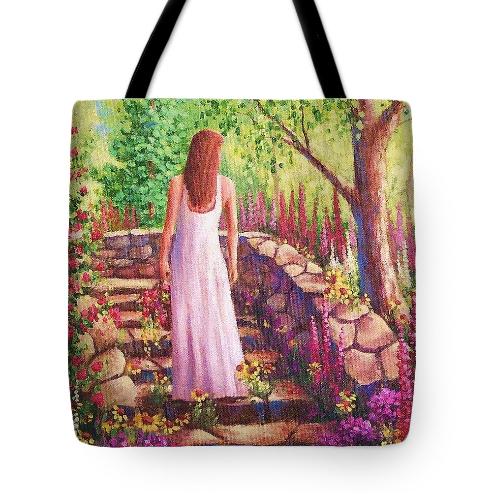 Woman Tote Bag featuring the painting Morning In Her Garden by David G Paul