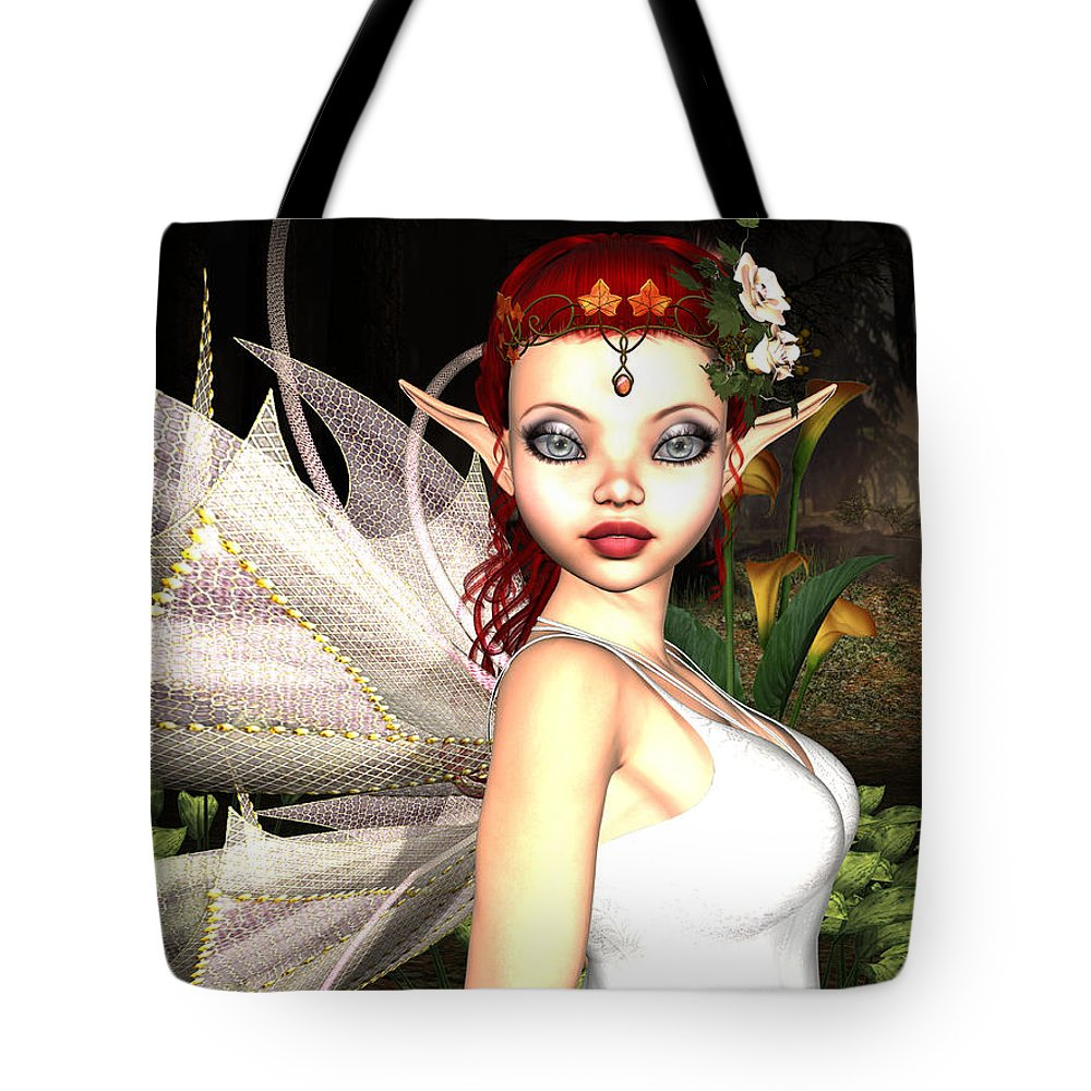 3d Tote Bag featuring the digital art Morning Lily Fairy by Alexander Butler