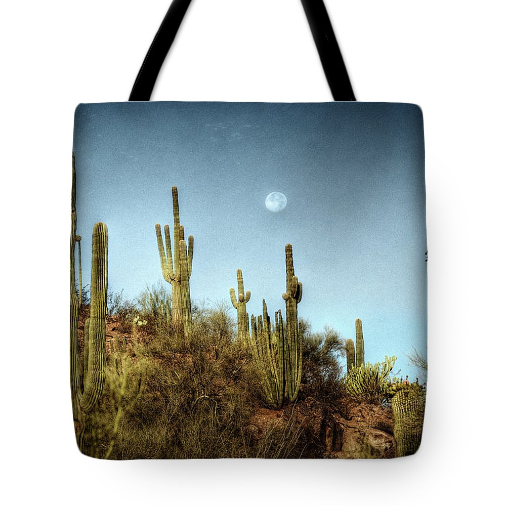 Arizona Tote Bag featuring the photograph Morning Moon by Saija Lehtonen