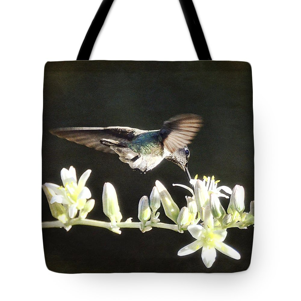Hummingbirds Tote Bag featuring the photograph Morning Nectar Flyby by Saija Lehtonen