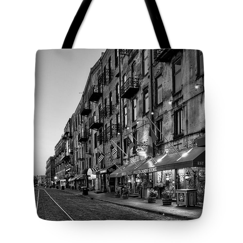River Street Tote Bag featuring the photograph Morning On River Street In Black And White by Greg Mimbs