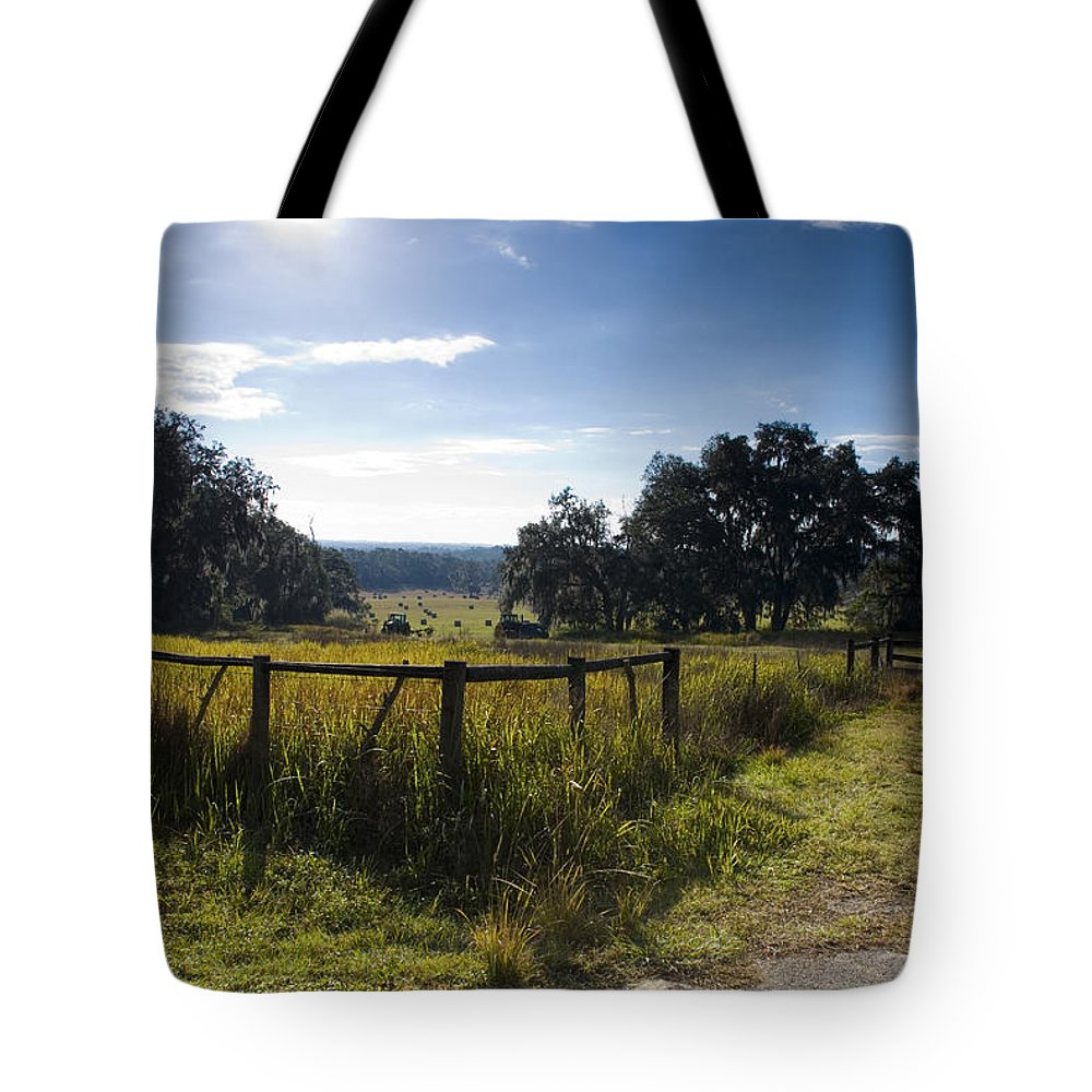 Sky Tote Bag featuring the photograph Morning On The Farm by Beverly Stapleton