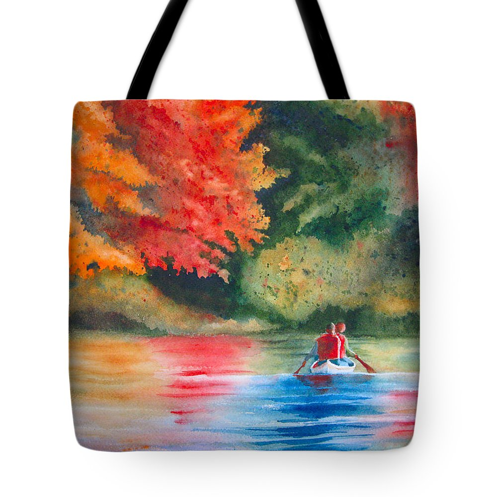 Lake Tote Bag featuring the painting Morning On The Lake by Karen Stark