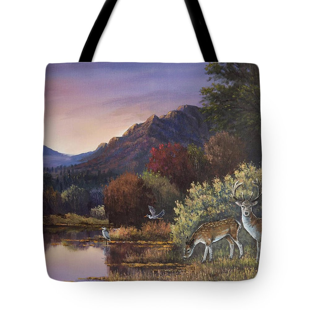 Landscape Tote Bag featuring the painting Morning Peace by Sean Conlon