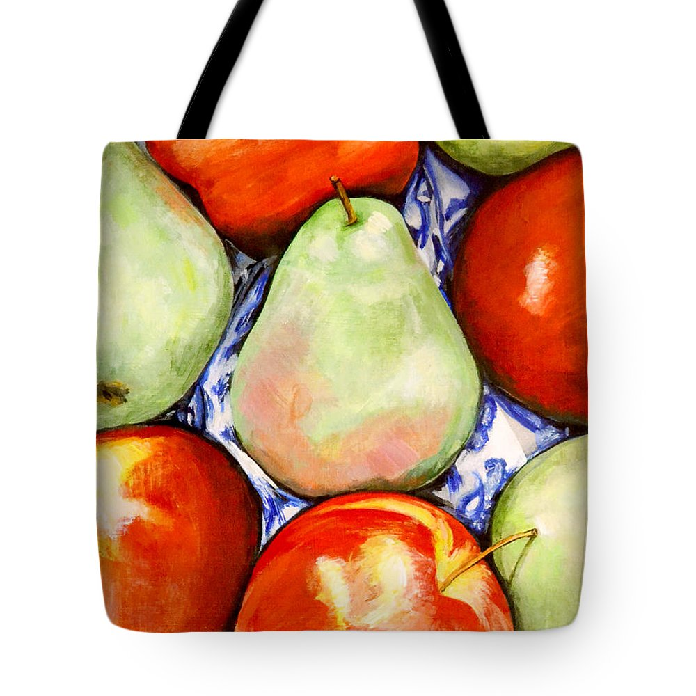 Apples Tote Bag featuring the painting Morning Pears and Apples by Mary Chant