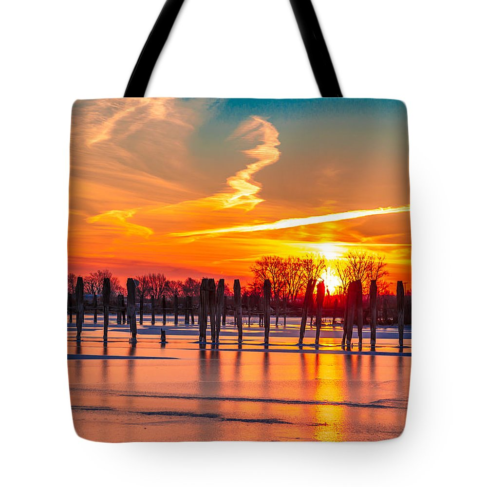 Lake Tote Bag featuring the photograph Morning Pier by Scott McKay