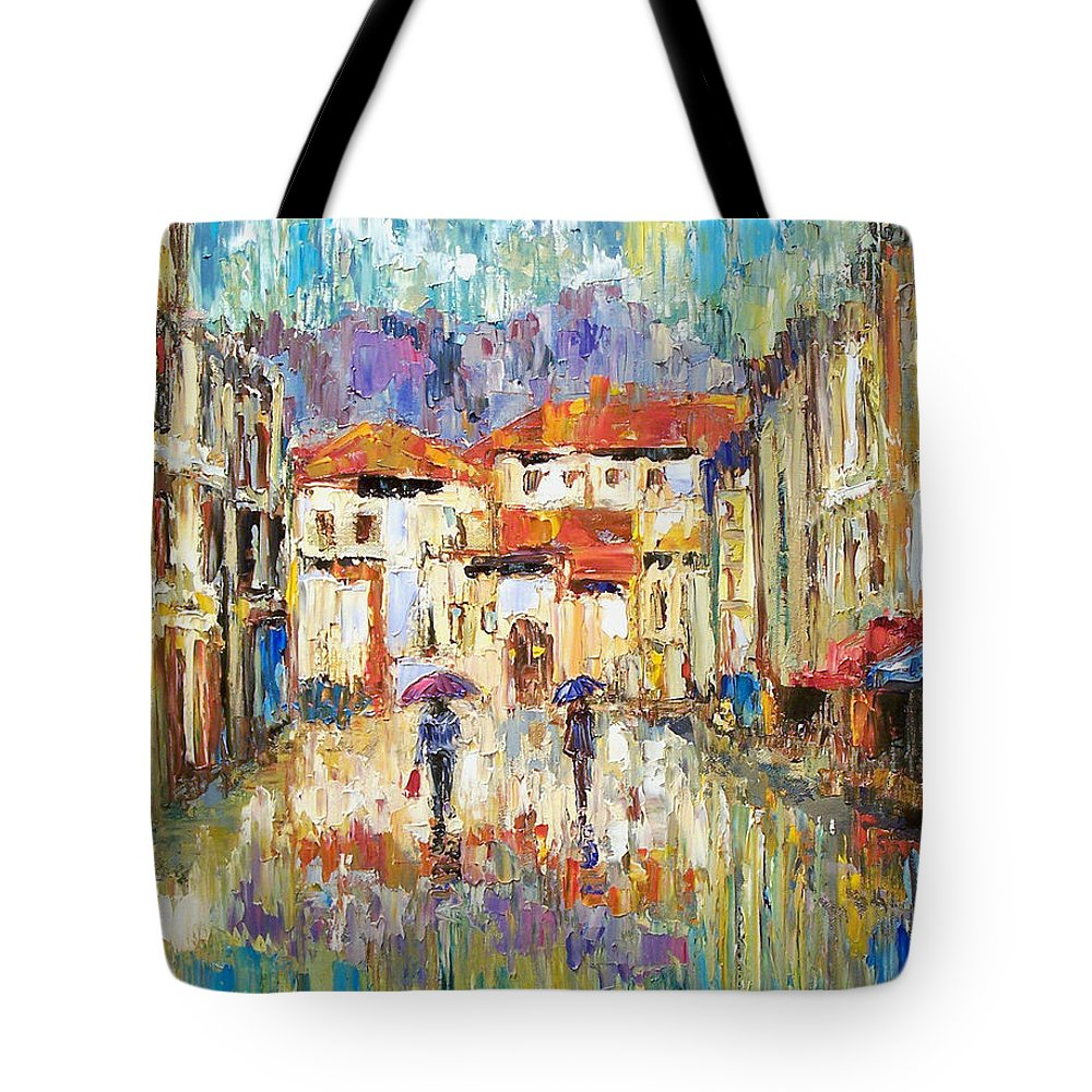 Landscape Tote Bag featuring the painting Morning Rain by Debra Hurd