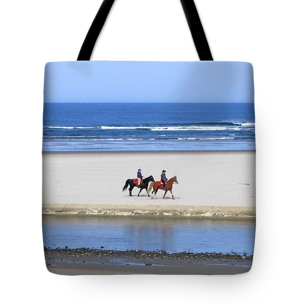 Horses Tote Bag featuring the photograph Morning Ride by Will Borden
