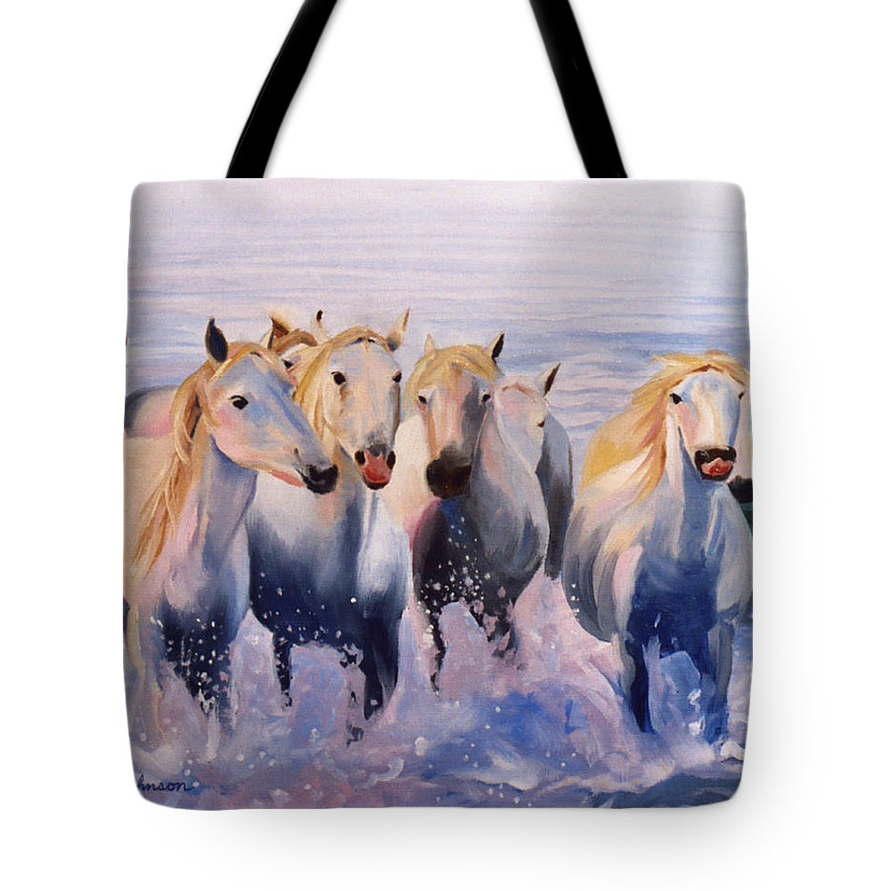 Tote Bag featuring the painting Morning Run by Jay Johnson