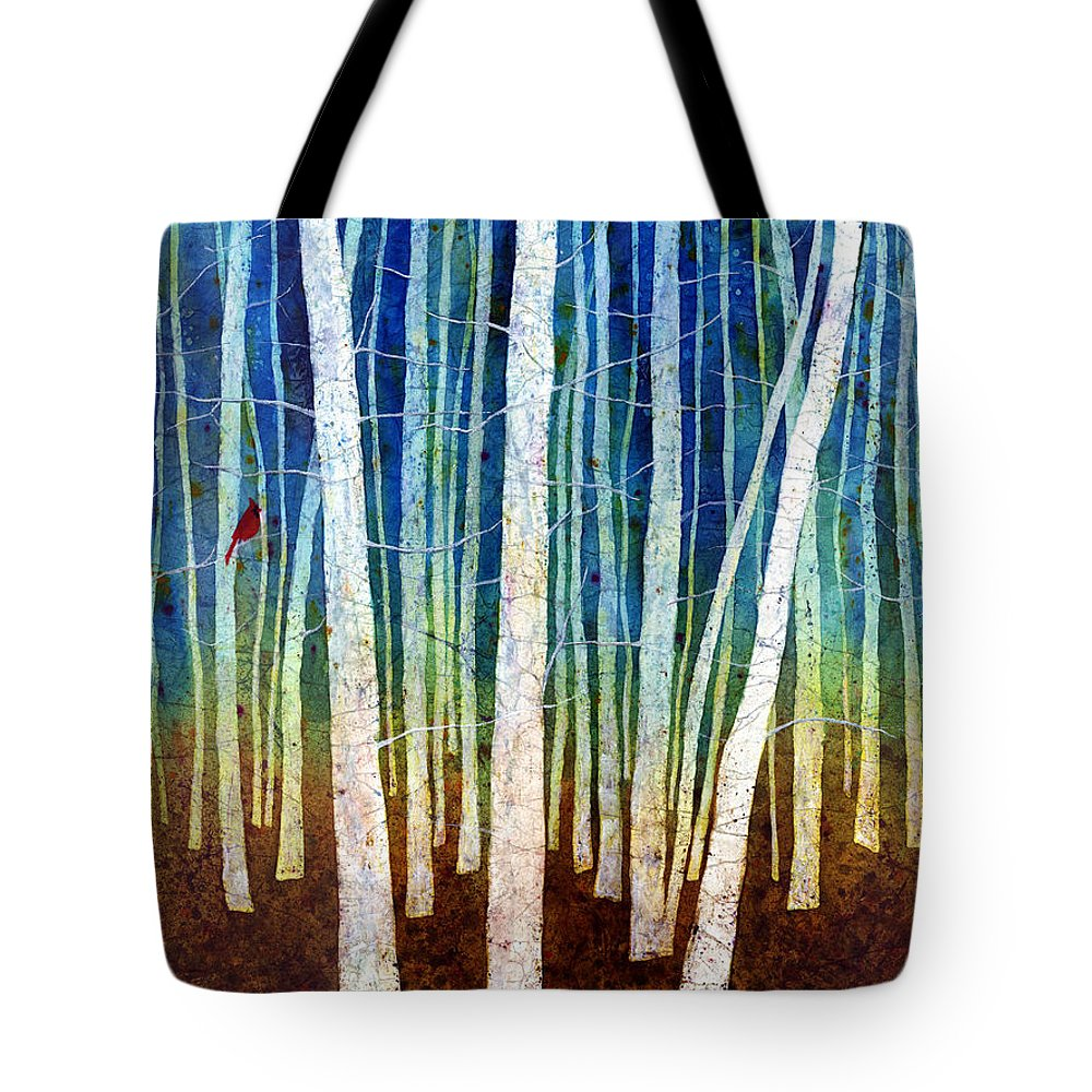Cardinal Tote Bag featuring the painting Morning Song II by Hailey E Herrera