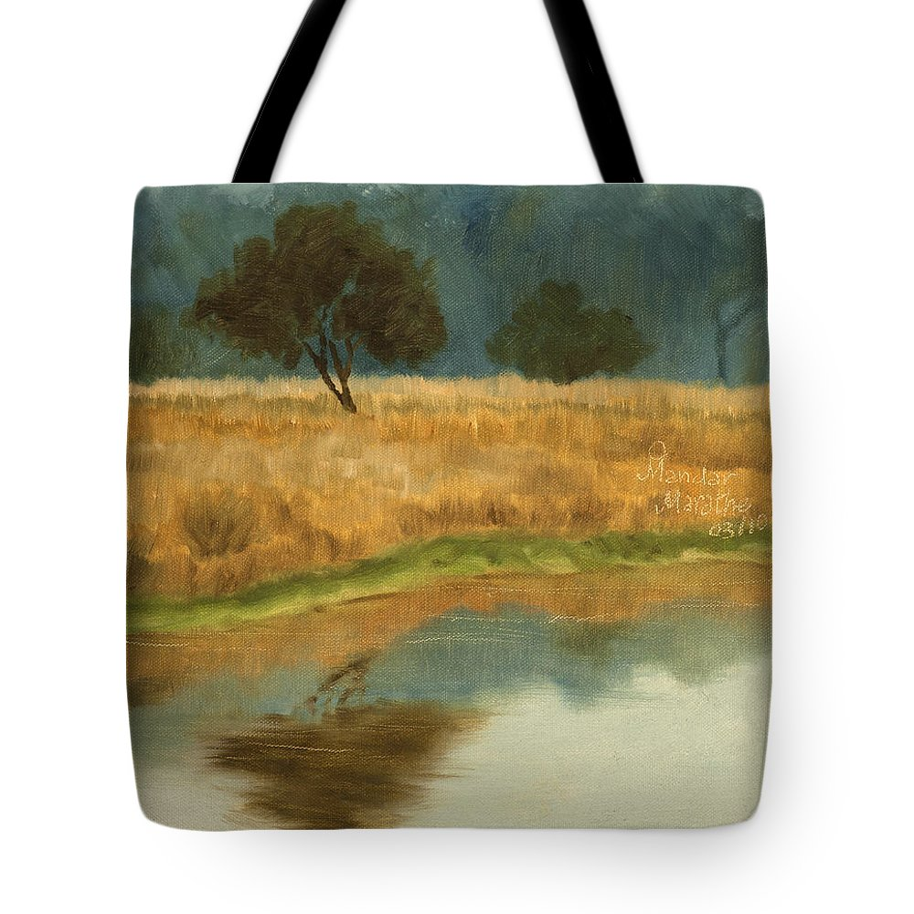 Landscape Tote Bag featuring the painting Morning Still by Mandar Marathe