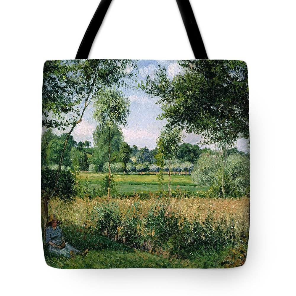 Camille Pissarro Tote Bag featuring the painting Morning Sunlight Effect, Eragny by Camille Pissarro