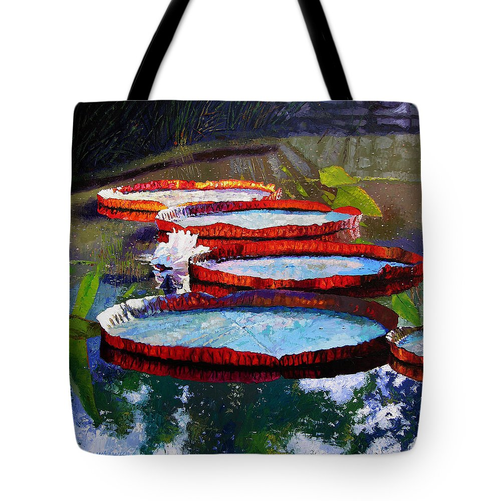 Water Lily Pond Tote Bag featuring the painting Morning Sunlight by John Lautermilch