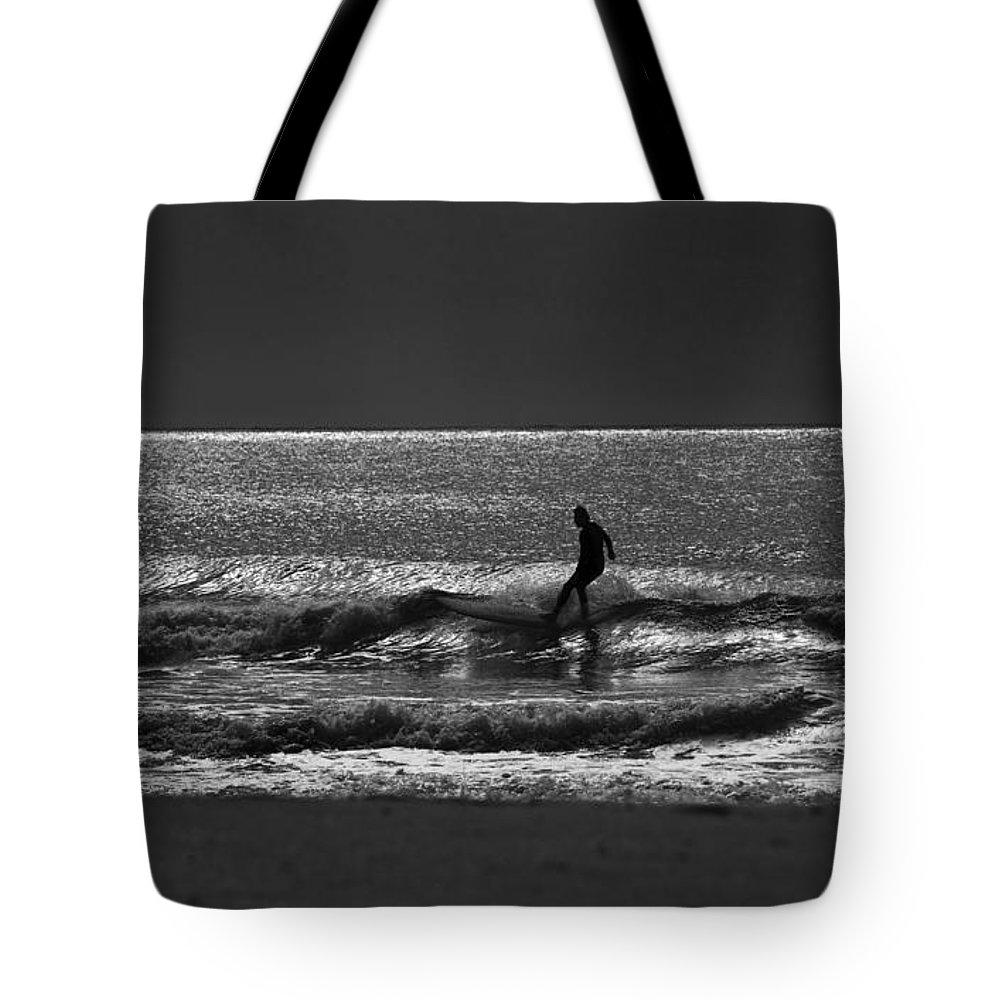 Surfer Tote Bag featuring the photograph Morning Surfer by Sheila Smart Fine Art Photography