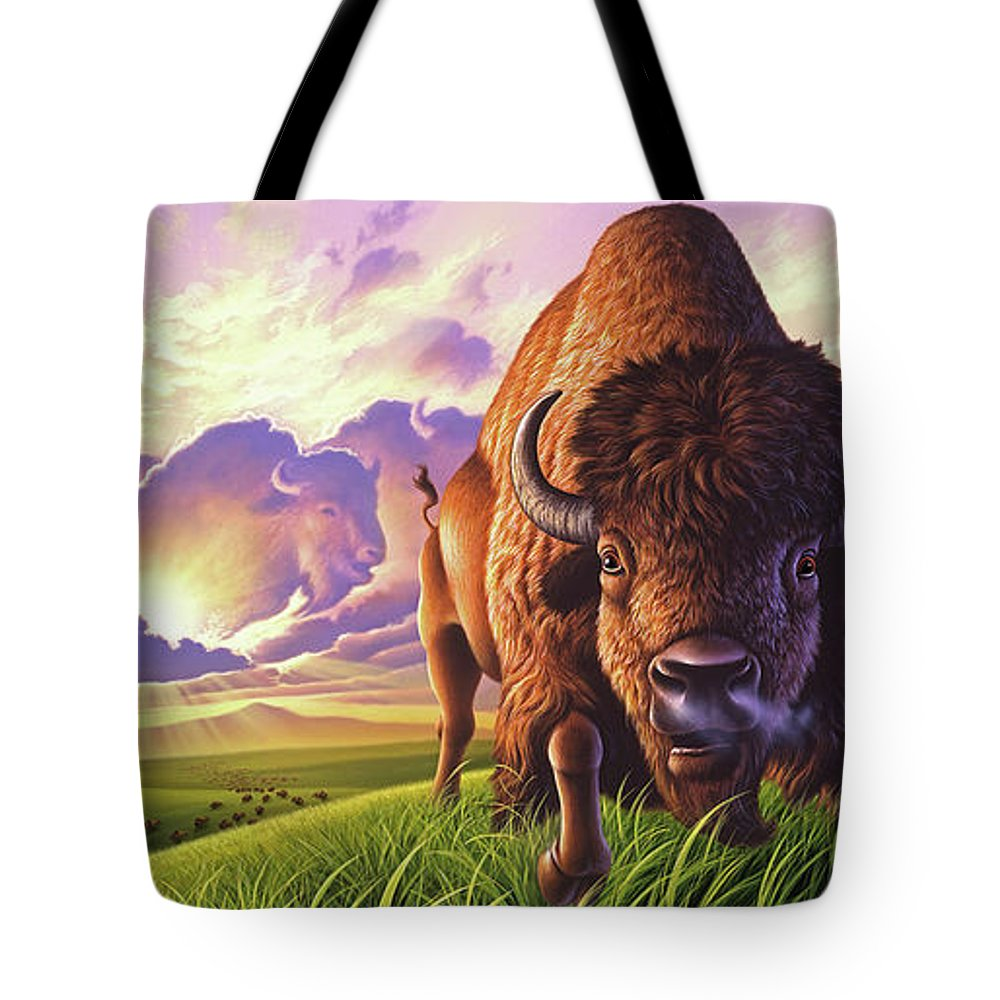 Buffalo Tote Bag featuring the painting Morning Thunder by Jerry LoFaro