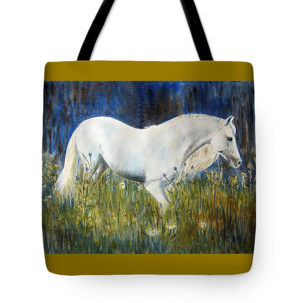 Horse Painting Tote Bag featuring the painting Morning Walk by Frances Gillotti