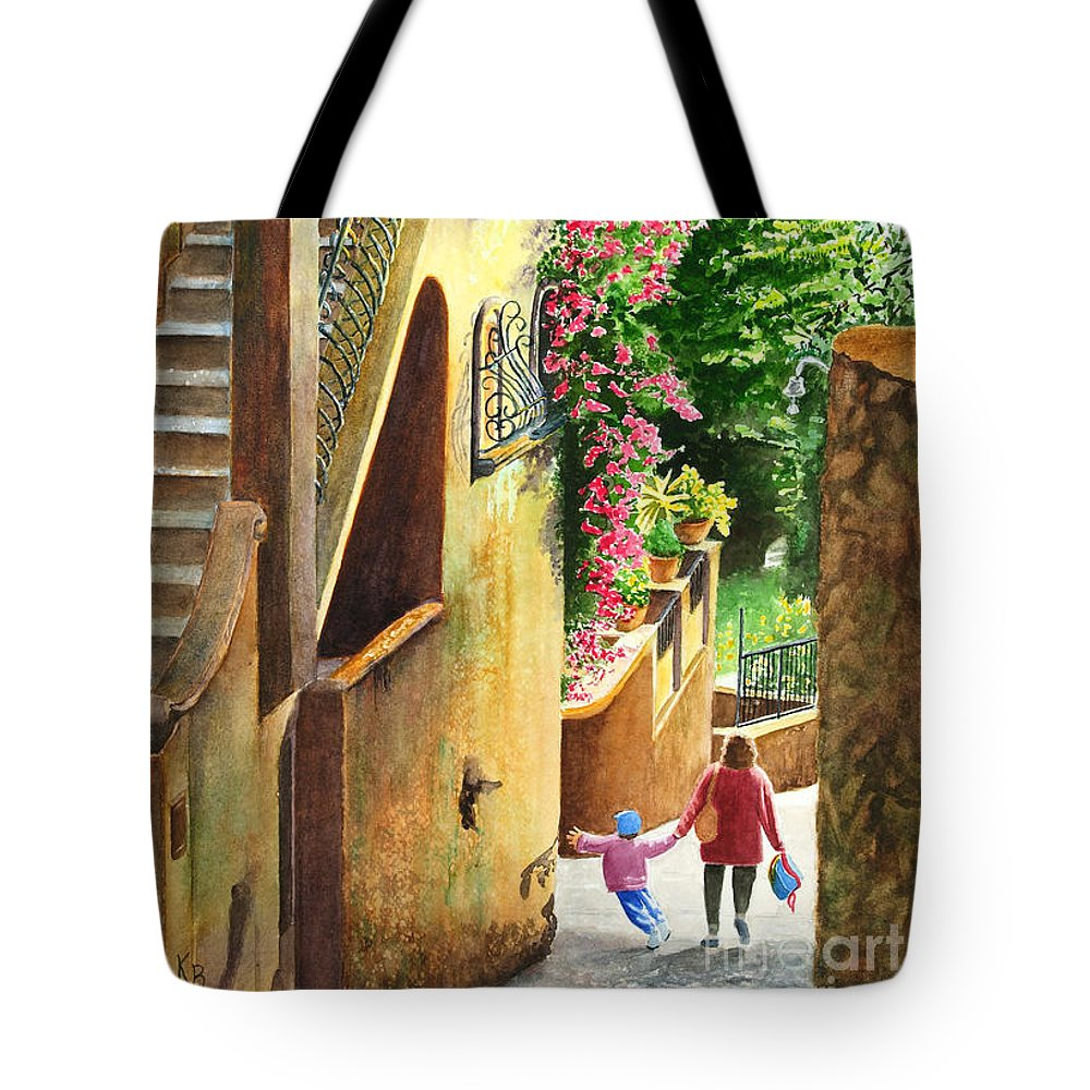 Italy Tote Bag featuring the painting Morning Walk by Karen Fleschler