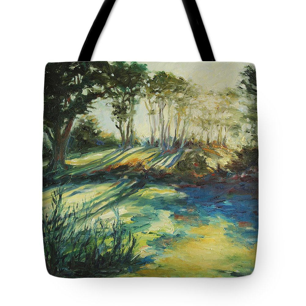 Sunrise Tote Bag featuring the painting Morning Walk by Rick Nederlof