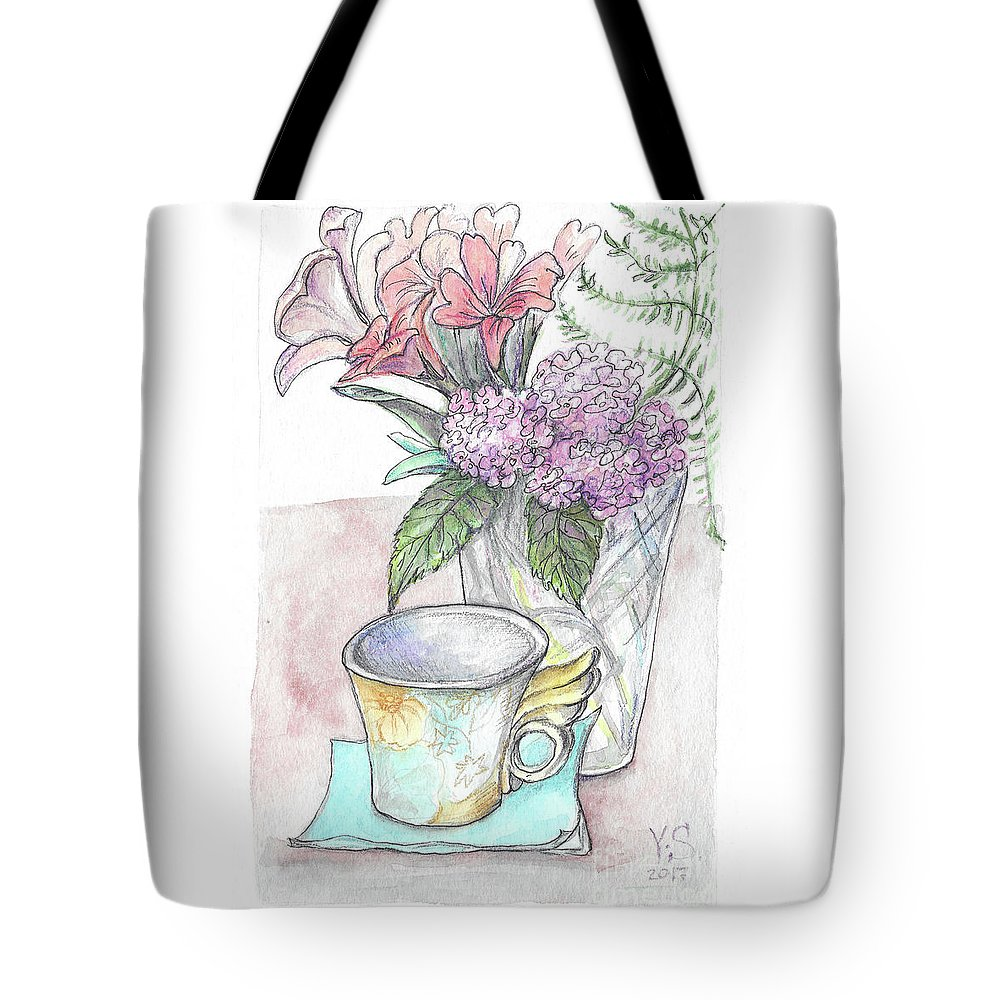 Cup Tote Bag featuring the painting Morning by Yana Sadykova