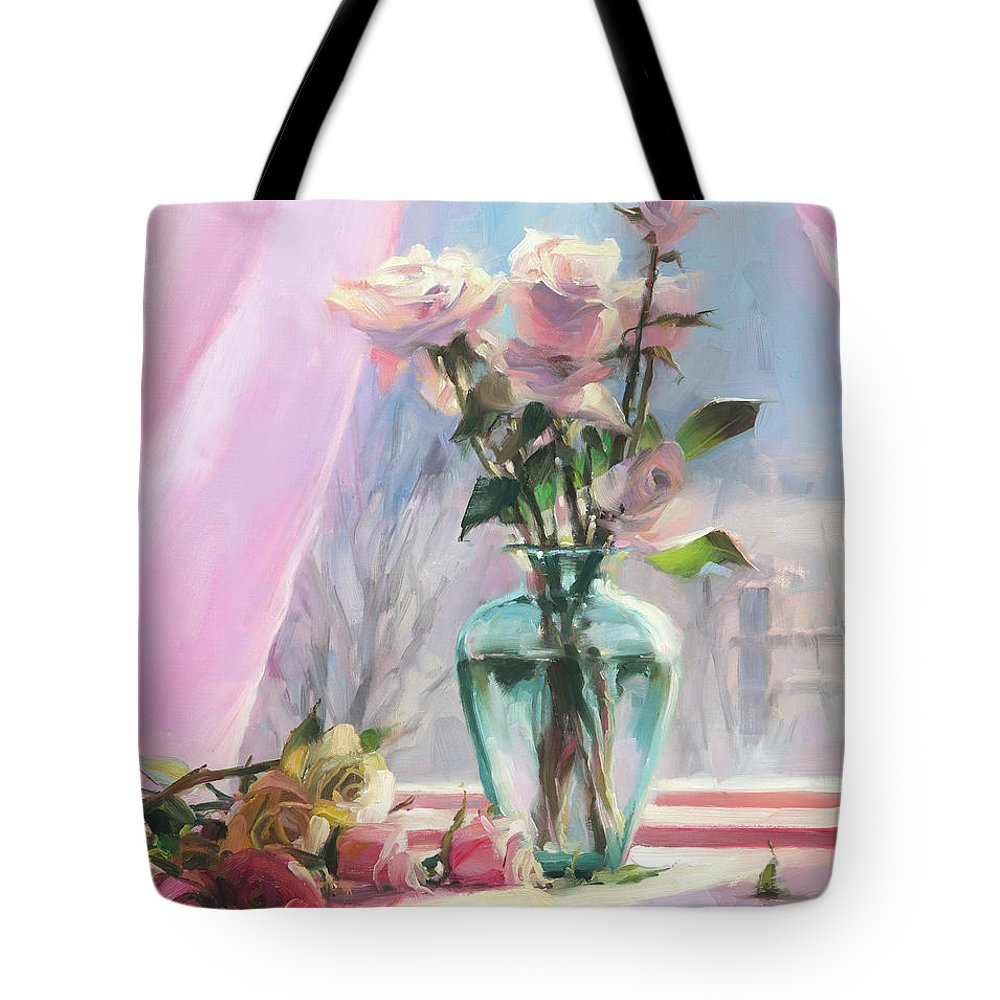 Flowers Tote Bag featuring the painting Morning's Glory by Steve Henderson
