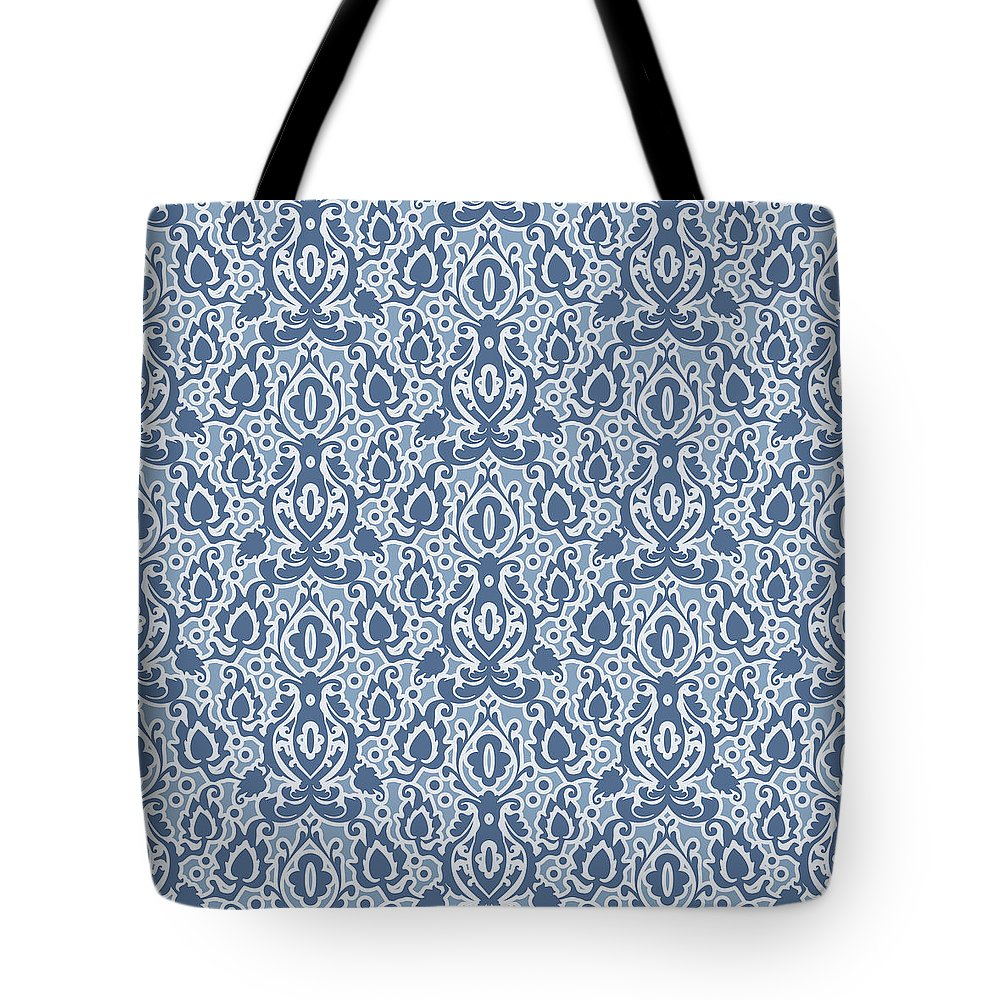 Moroccan Tote Bag featuring the digital art Moroccan Blue Casbah Damask by Antique Images