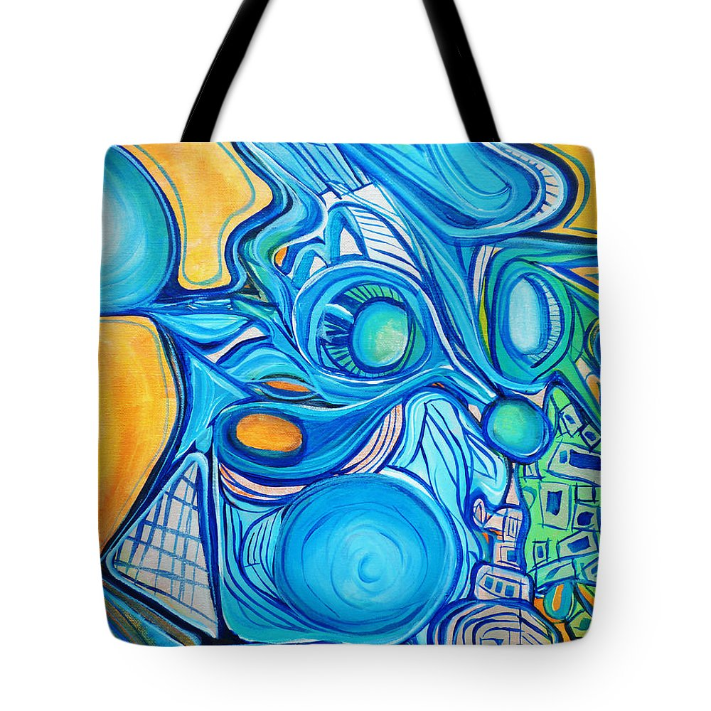 Blue Tote Bag featuring the painting Morphism And Energy by Larry Calabrese