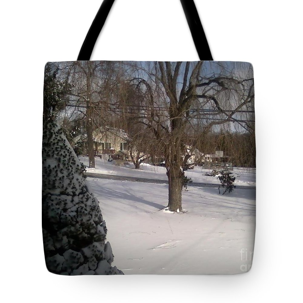 Snow Tote Bag featuring the photograph Morris County New Jersey Snowstorm Of 12-26-10 by Carol Wisniewski