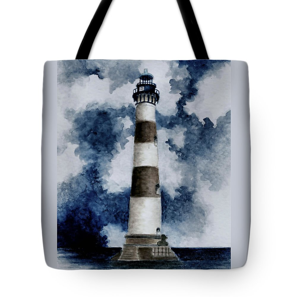 Lighthouse Tote Bag featuring the painting Morris Island Lighthouse by Michael Vigliotti
