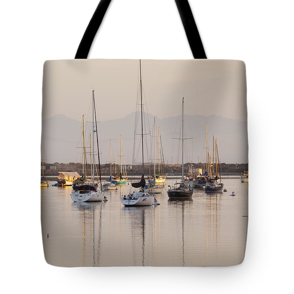 Morro Bay Tote Bag featuring the photograph Morro Bay Boats In Early Morning Light  by Sharon Foelz