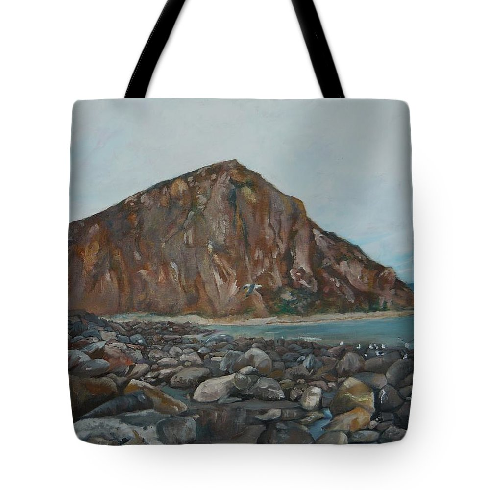 Morro Bay Tote Bag featuring the painting Morro Rock by Travis Day