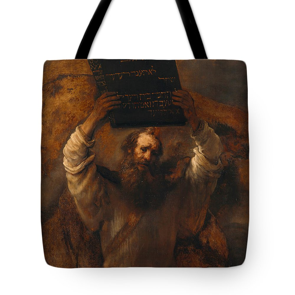 Rembrandt Tote Bag featuring the painting Moses With The Ten Commandments by Rembrandt