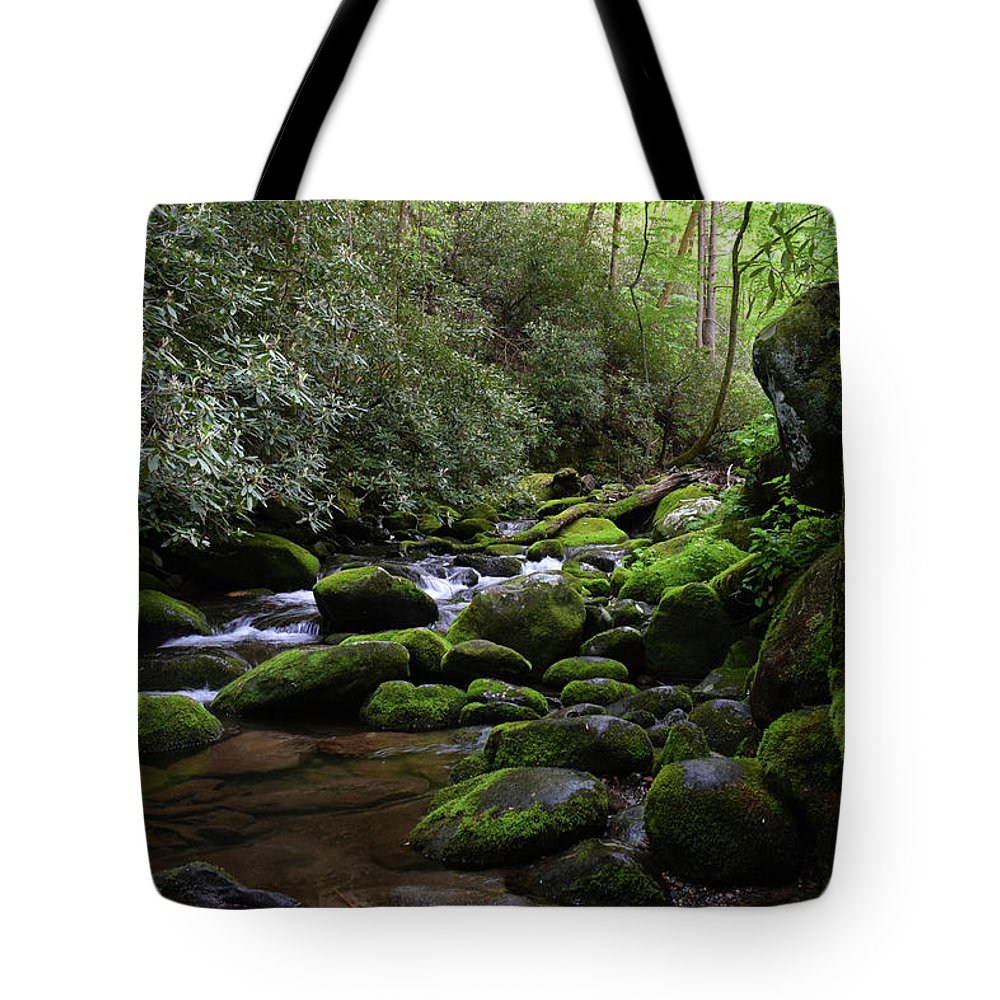 Landscape Tote Bag featuring the photograph Moss Covered River Rocks by Pat Turner
