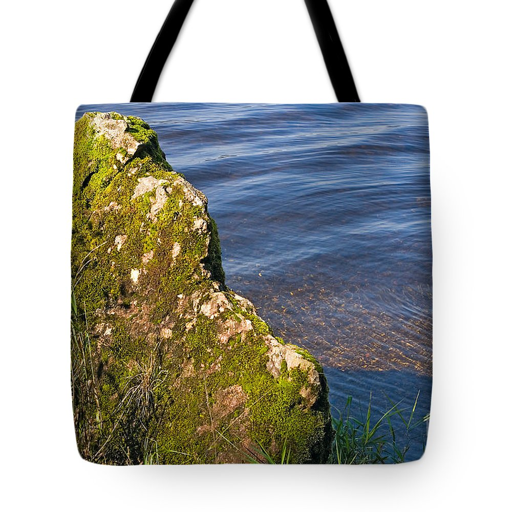Landscape Tote Bag featuring the photograph Moss Covered Rock And Ripples On The Water by Louise Heusinkveld