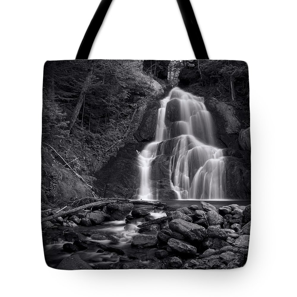 Moss Glen Falls Tote Bag featuring the photograph Moss Glen Falls - Monochrome by Stephen Stookey