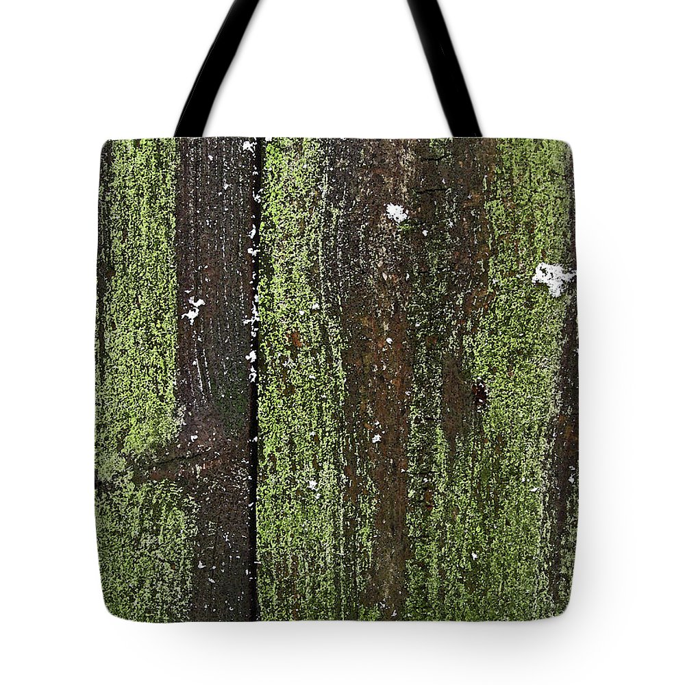 Fence Tote Bag featuring the photograph Mossy Winter Fence by Mary Bedy
