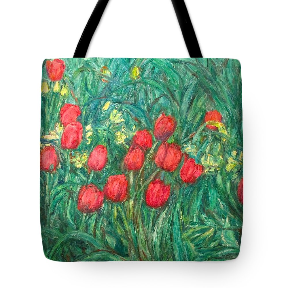 Kendall Kessler Tote Bag featuring the painting Mostly Tulips by Kendall Kessler