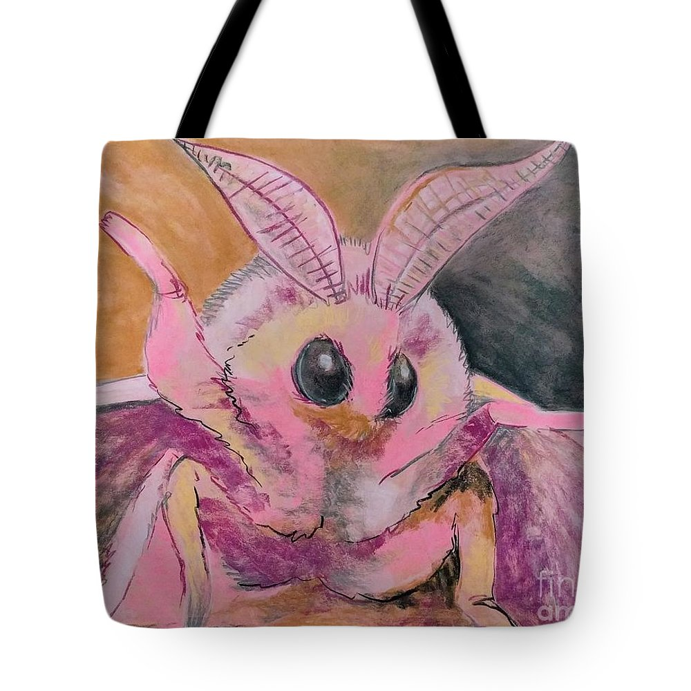 Pink Tote Bag featuring the drawing Moth Of Pink by Brianna Reynolds