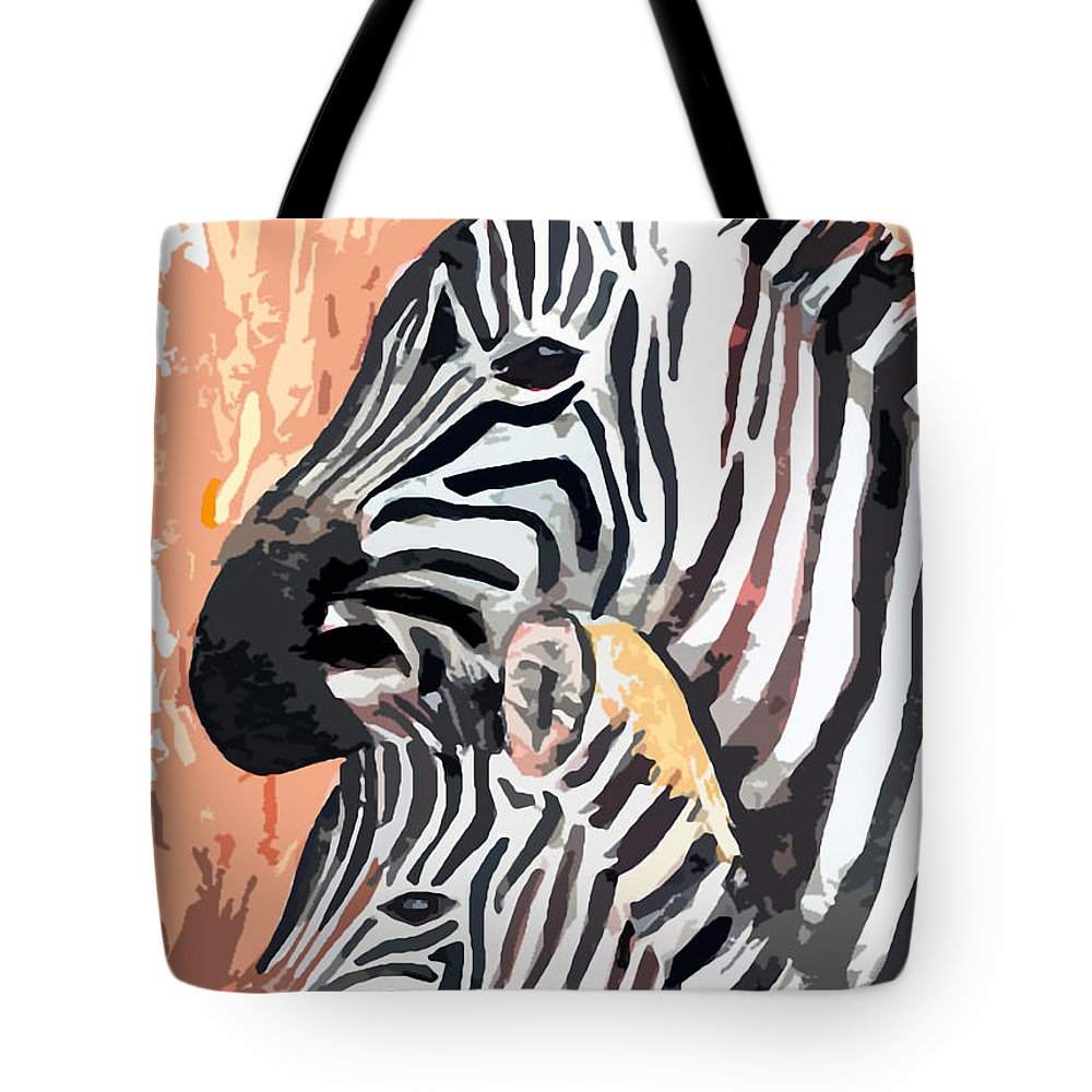 Zebra Tote Bag featuring the digital art Mother And Baby by Arline Wagner