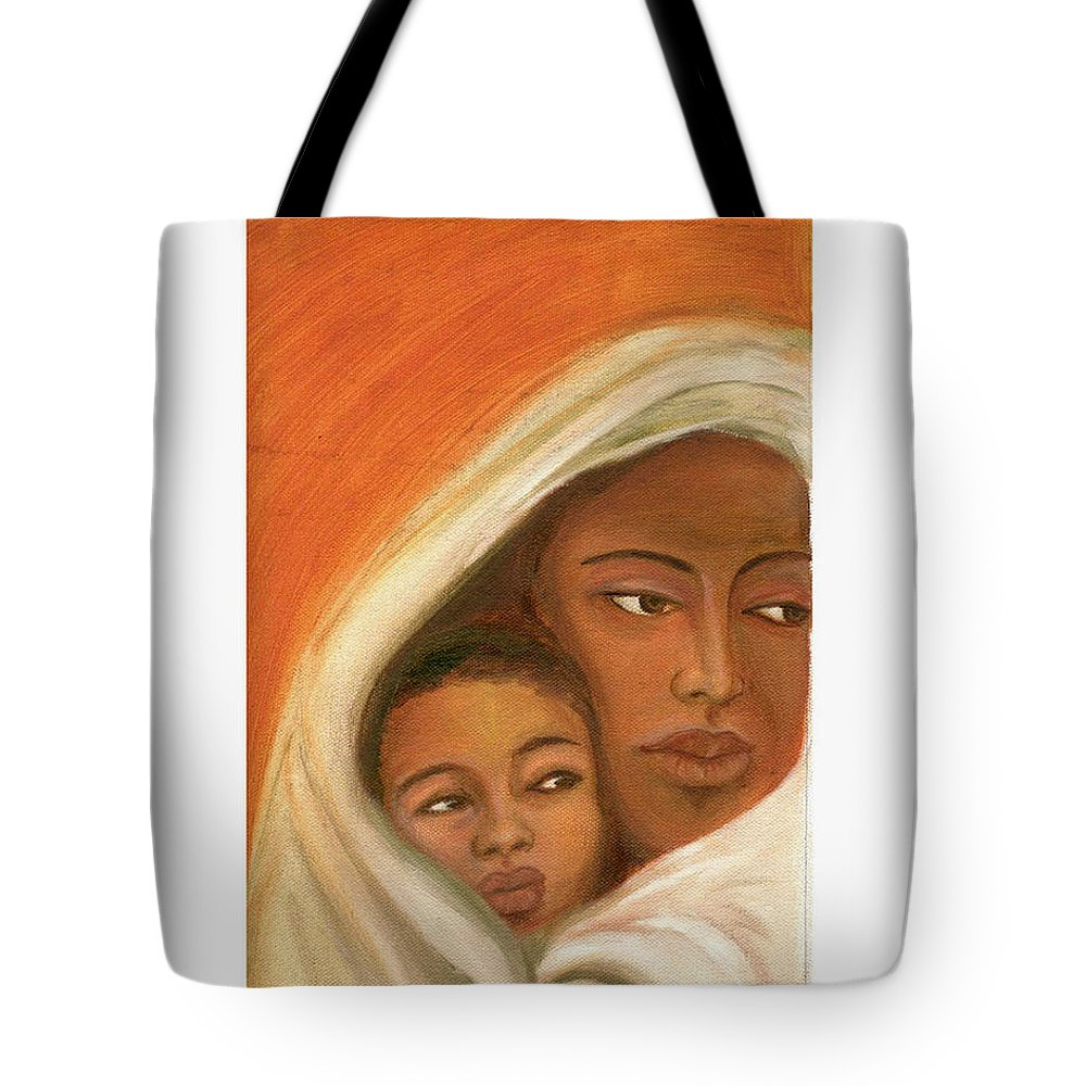 Figuretive Mother And Child Tote Bag featuring the painting Mother And Child by Asha Sudhaker Shenoy