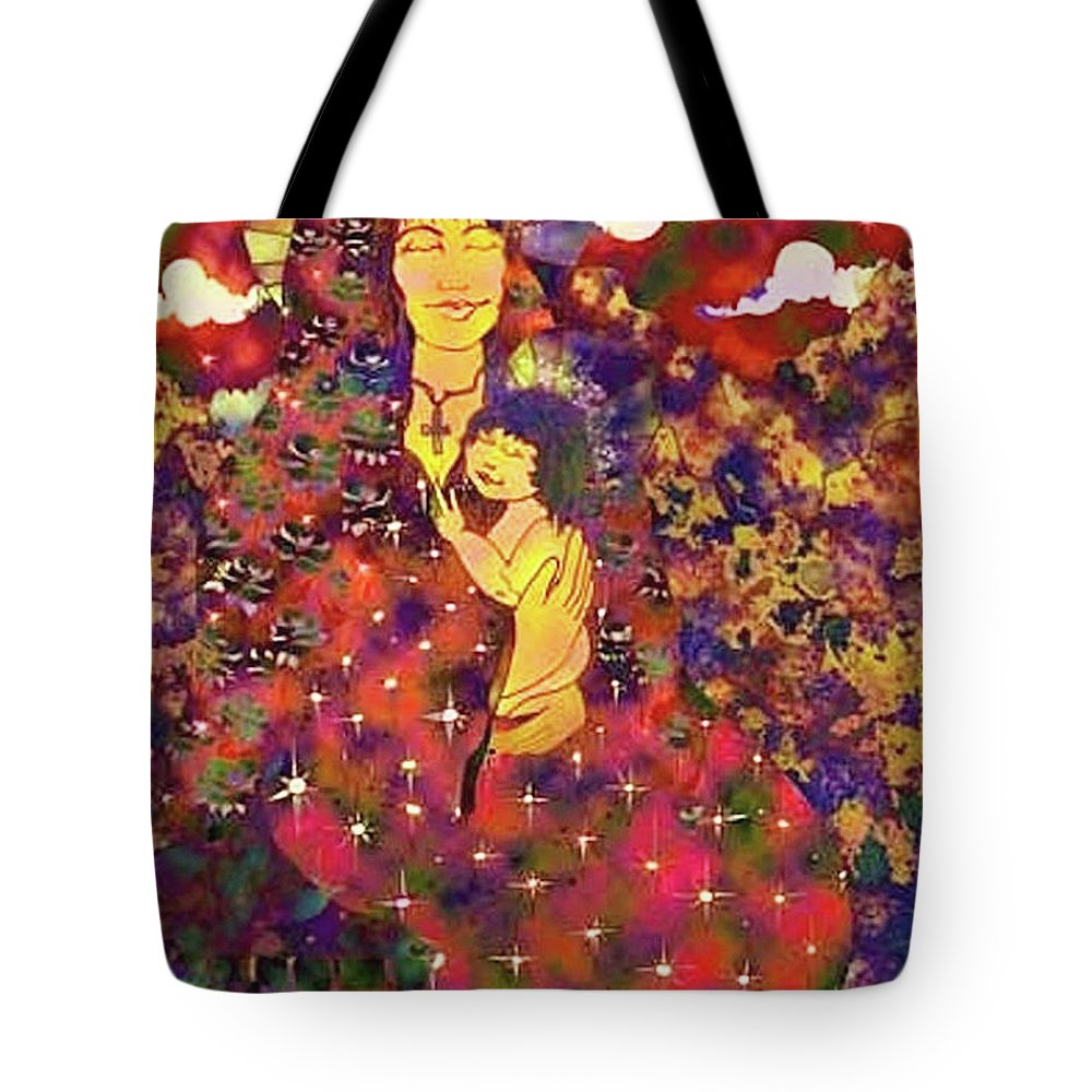 Religious Tote Bag featuring the digital art Mother And Child by Dede Shamel Davalos