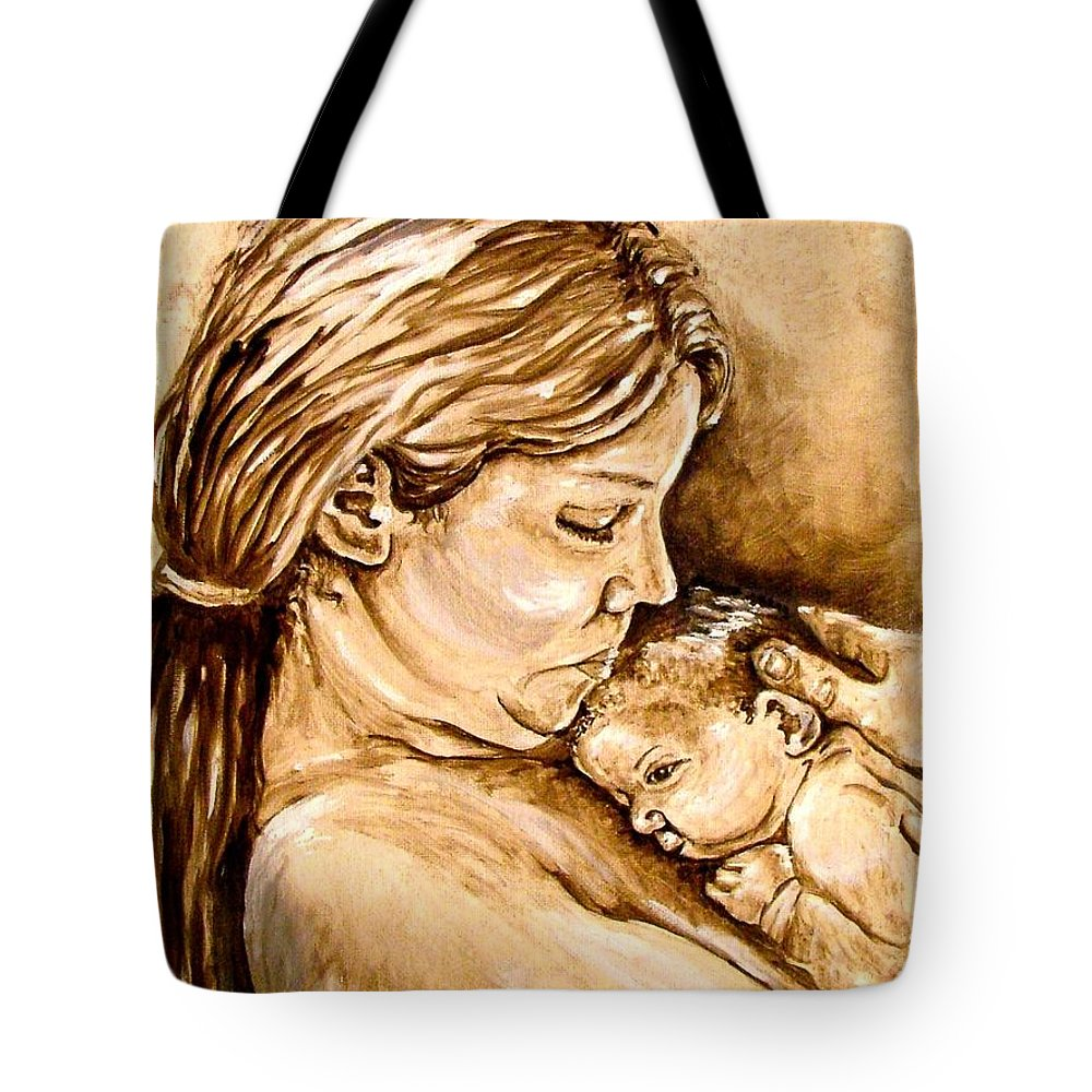 Mother Tote Bag featuring the painting Mother And Child IIi by Carol Allen Anfinsen